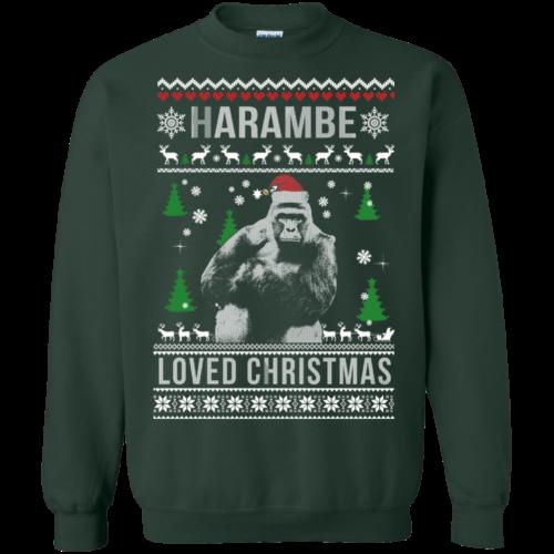 Harambe Loved Christmas Sweater, T Shirt, Long Sleeve