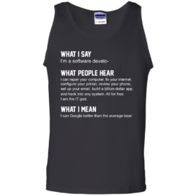 Developer Funny shirts what people hear when i say i'm a software developer tshirt, tank, hoodie