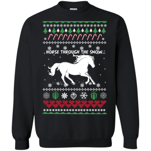 Christmas Horse lover sweater Horse through the snow sweater, tshirt, tank, hoodie