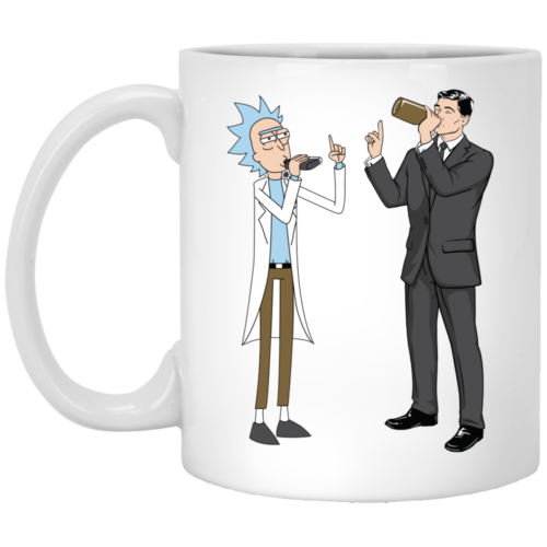 Rick and Archer drink wine coffee mugs