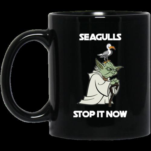 Seagulls Stop It Now Coffee Mugs