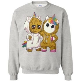 Baby groot and baby unicorn shirt