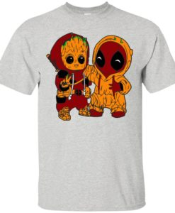 Baby groot and baby deadpool shirt