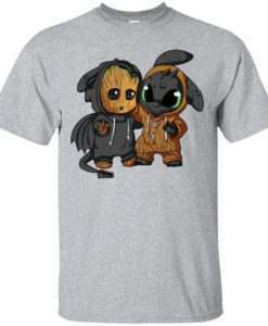 Baby groot and toothless shirt