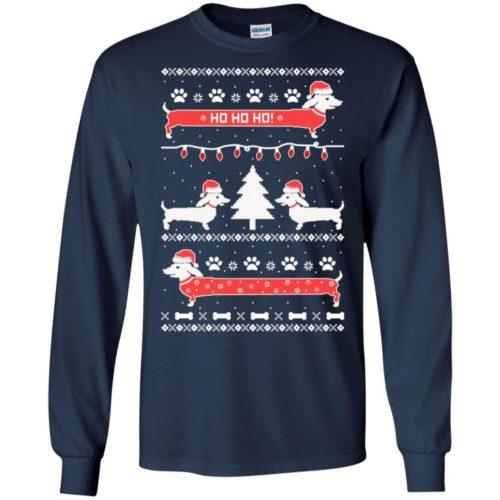 Cute Dachshund Snow Ho Ho Ho Ugly Christmas T shirt, Ls, Sweater