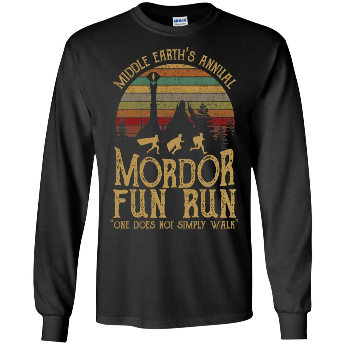 94a68d2b0 Middle earth's annual mordor fun run one does not simply walk T shirt, Ls,