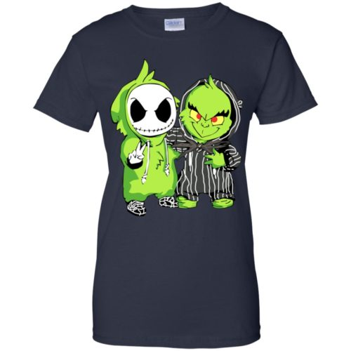 Baby Skellington and Grinch T shirt, Ls, Sweater