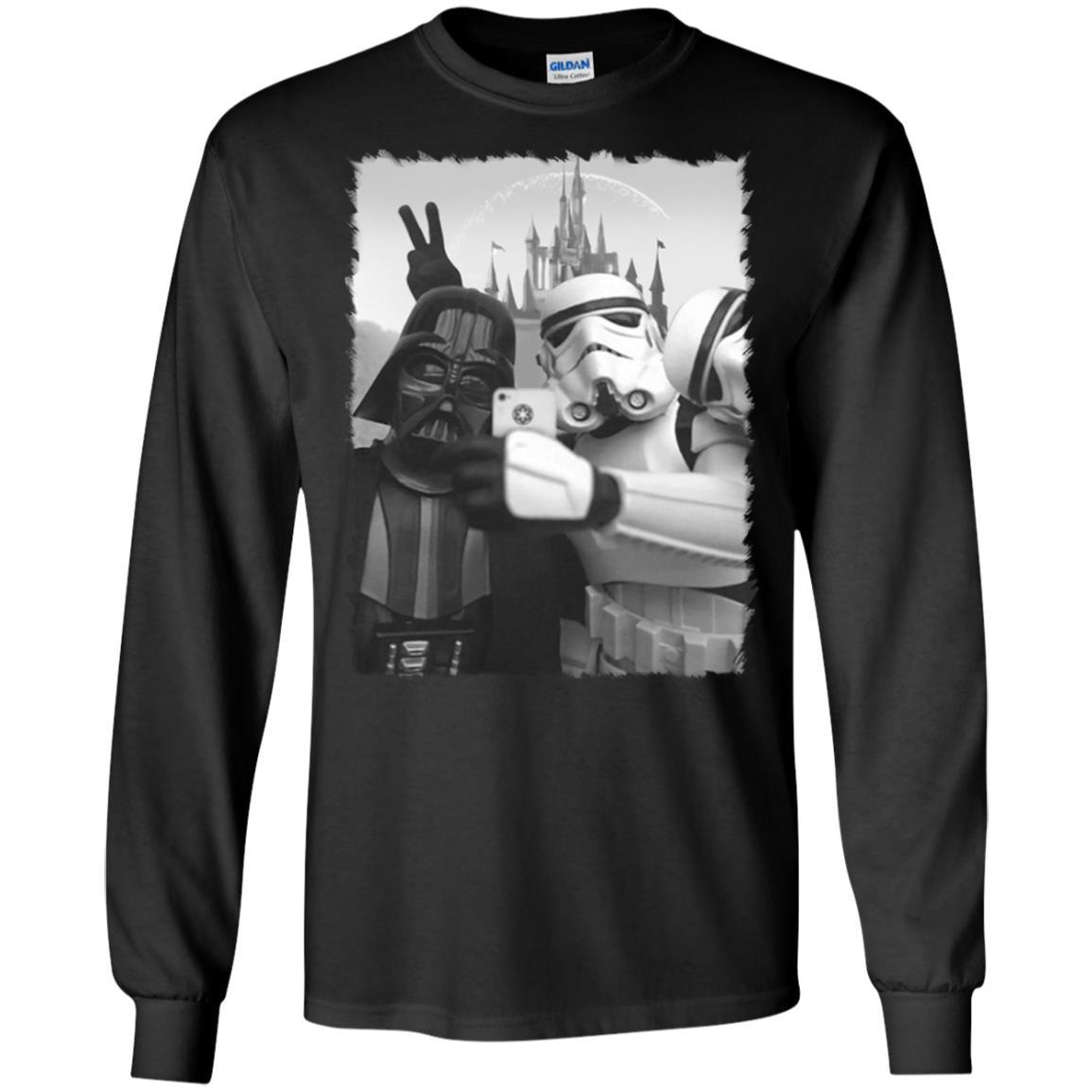 Selfie Star Wars Premium T-shirt noir Chewbacca Stormtrooper R2D2