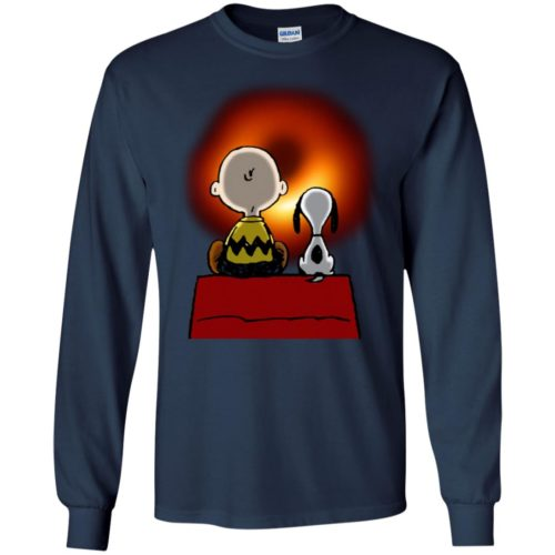 Snoopy and Charlie Brown watching cosmic black hole shirt