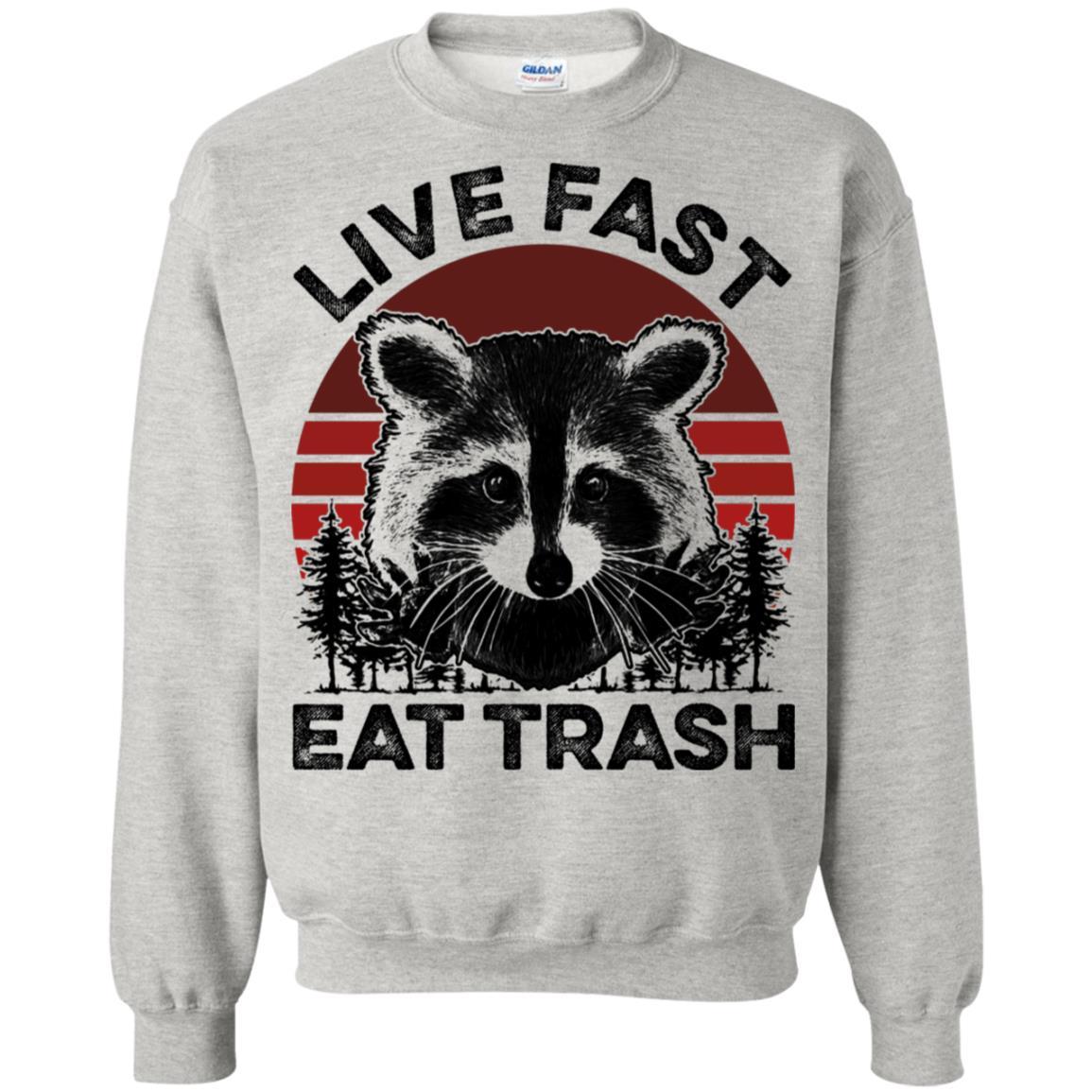 Raccoon Vintage Live Fast Eat Trash Gildan T-Shirt  Black Size S-3XL