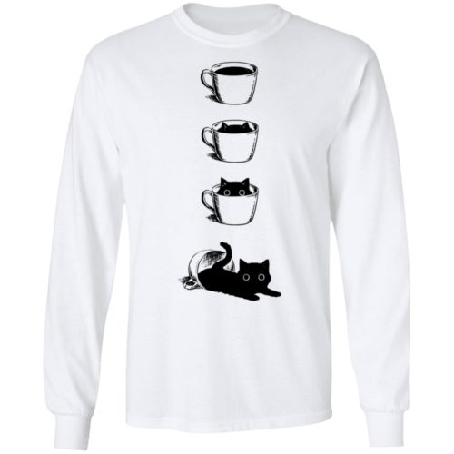 Black cat in the coffee cup hoodie, ls, t shirt
