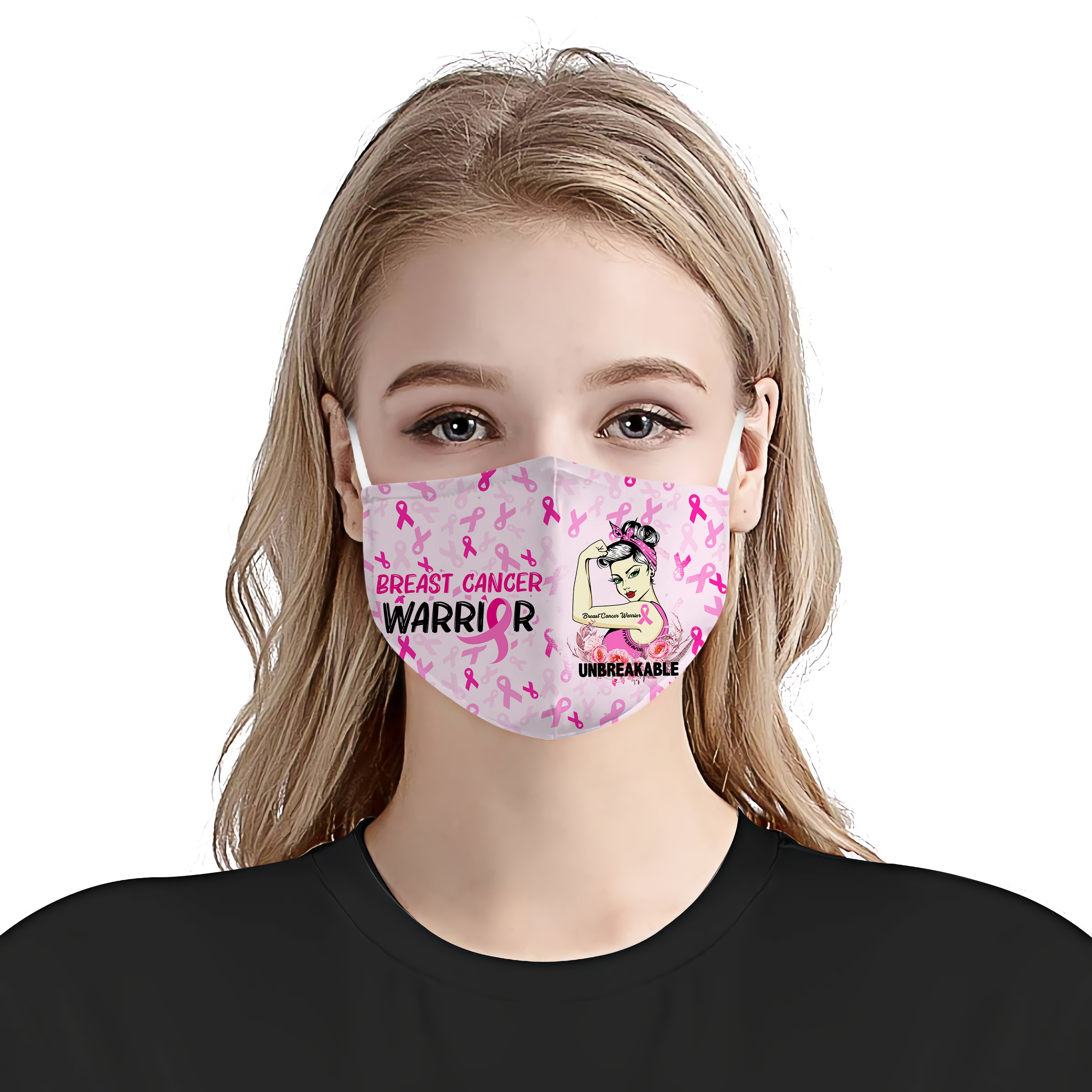 Breast Cancer Awareness Warrior Unbreakable Face Mask Robinplacefabrics