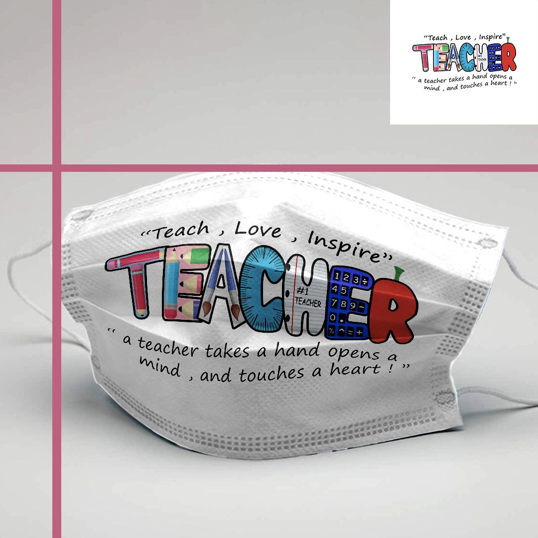 899 Teach Love Inspire Teacher Face Fashion Maks Teacher Gifts Washable Reusable Cotton