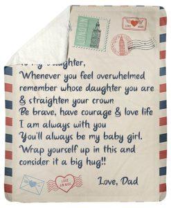Letter Dad To My Daughter Fleece Blanket