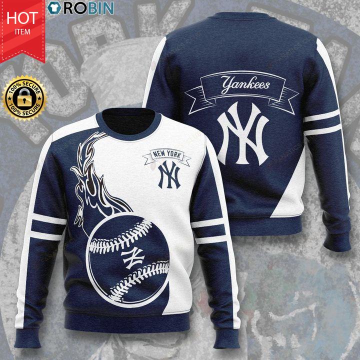 New York Yankees Baseball Team Full Printed Ugly Sweater
