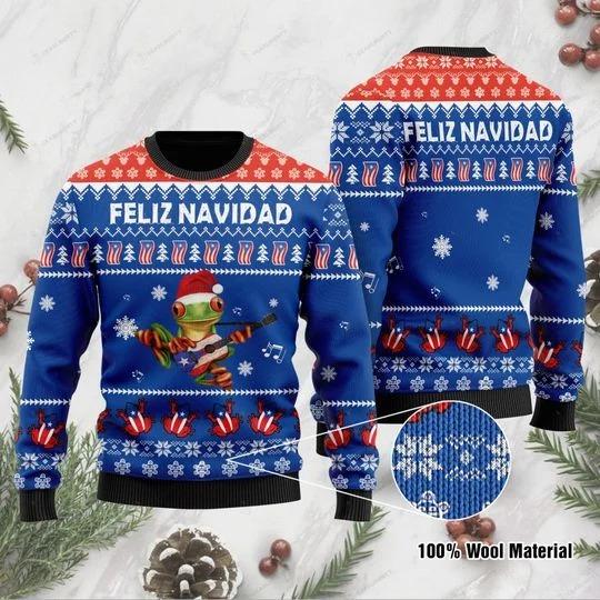 Frog Puerto Rico Feliz Navidad Ugly Christmas Sweater