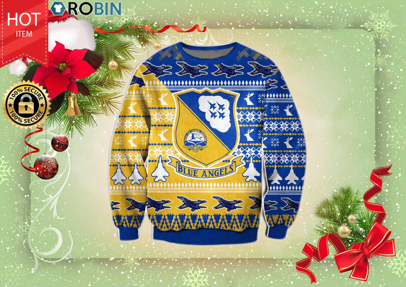 Blue Angels Christmas Wool Ugly Sweater