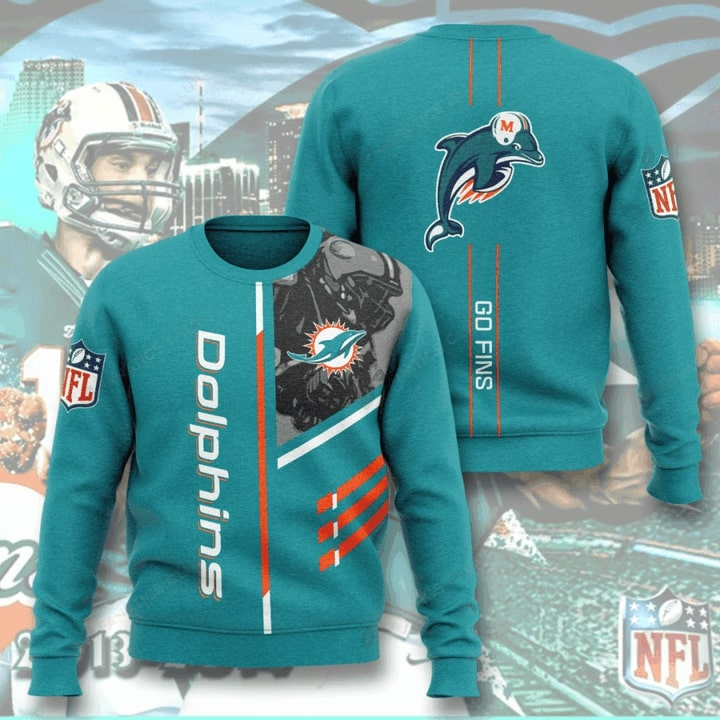 Miami Dolphins Go Fins Full Printed Sweater