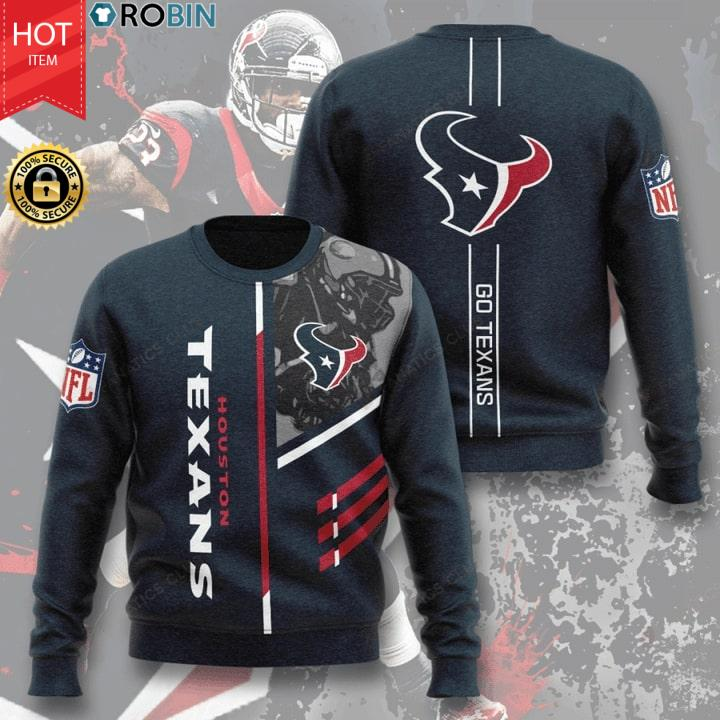 Houston Texans Football Go Texans Full Printing Sweater