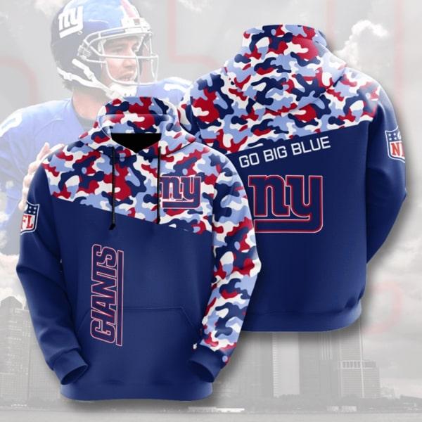 Go Big Blue New York Giants Camo Full Printed Hoodie