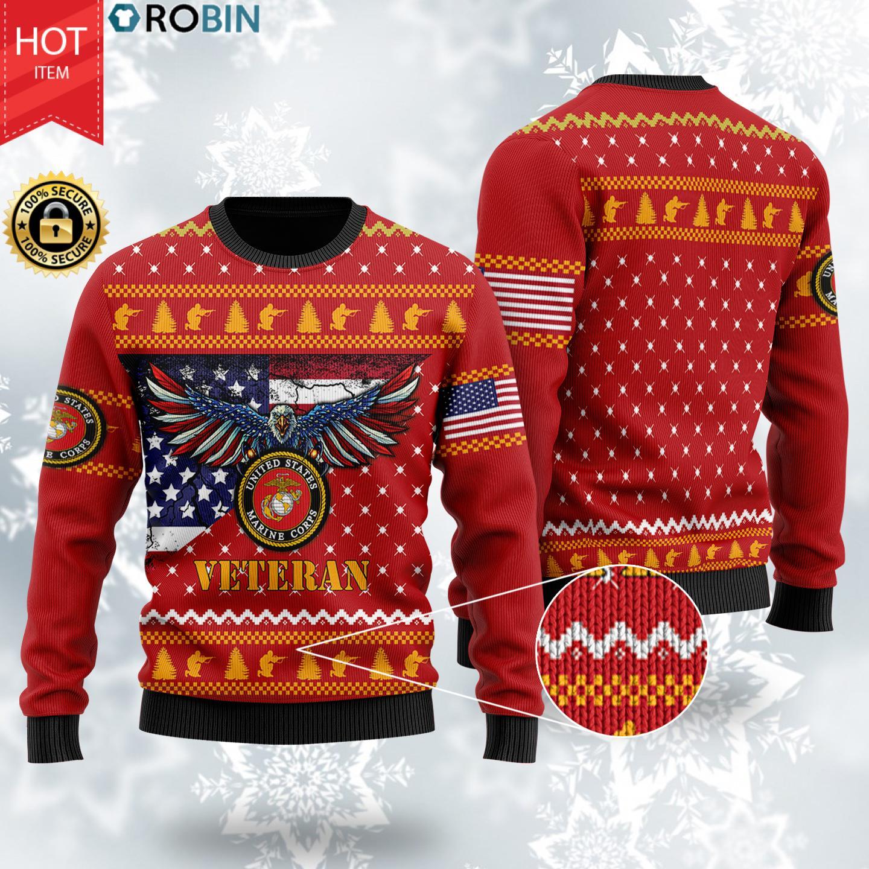 Bald Eagle US Marine Corps Veteran Christmas Wool Ugly Sweater