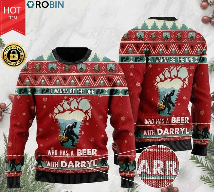 Bigfoot I Wanna Be The One Who Has A Beer With Darryl Christmas Ugly Sweater