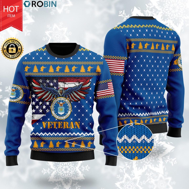 Bald Eagle US Air Force Veteran Christmas Wool Ugly Sweater