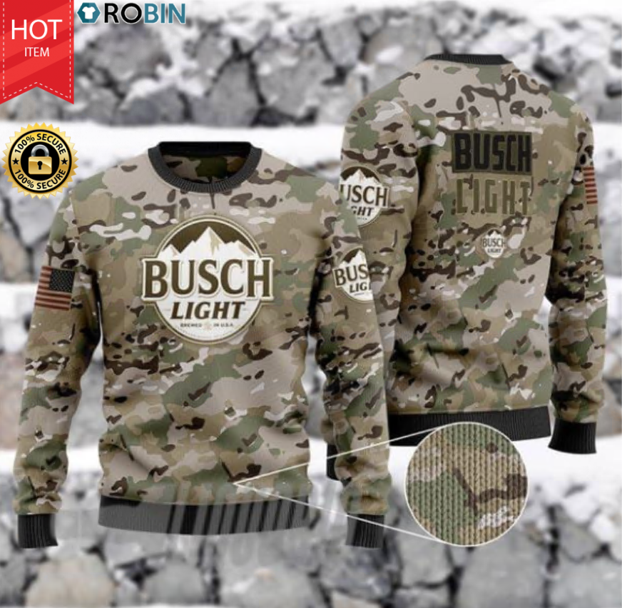 US Army Camo Busch Light Wood Ugly Christmas Sweater