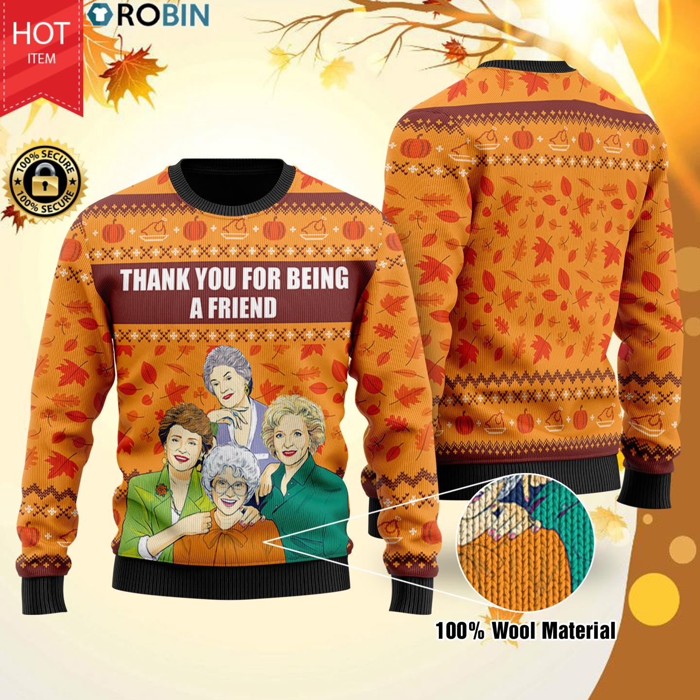 The Golden Girl Thank You For Being A Friend Christmas Wool Sweater