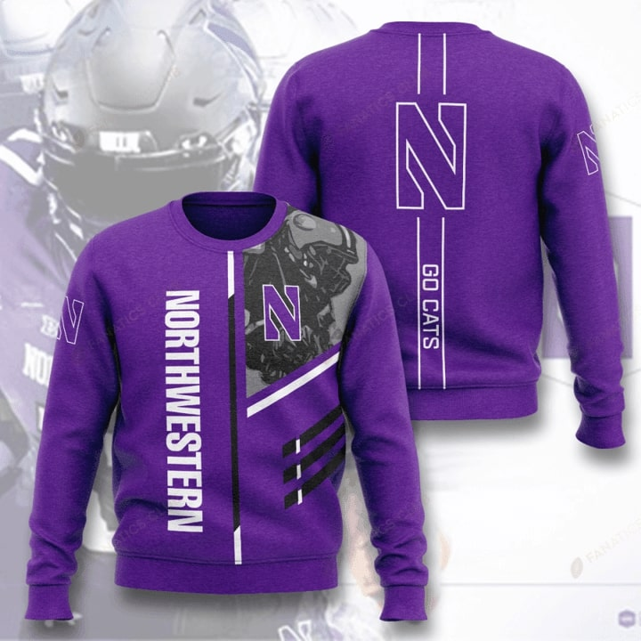 Northwestern Wildcats Football Go Cats Full Printed Sweater
