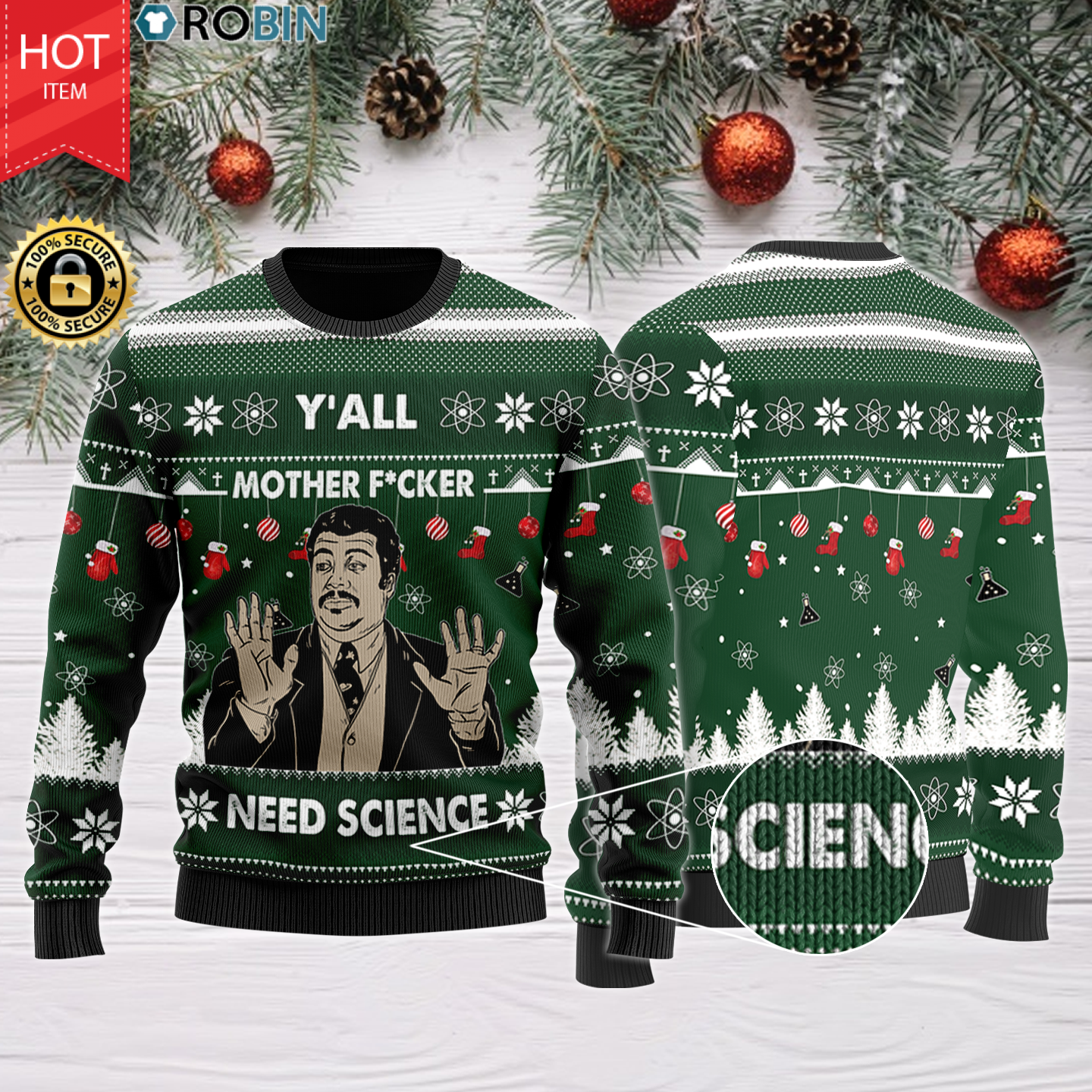 Y'All Motherfuckers Need Science Christmas Wool Sweater