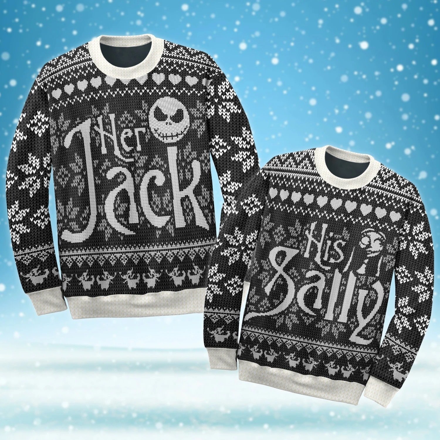 Her Jack And His Sally Ugly Christmas Sweater - Couple Sweater