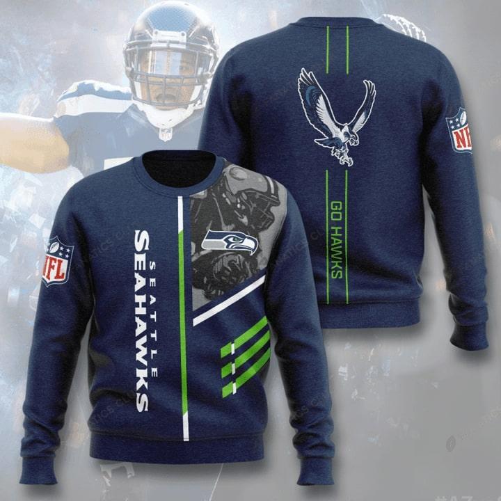 Seattle Seahawks Go Hawks Full Printer Sweater