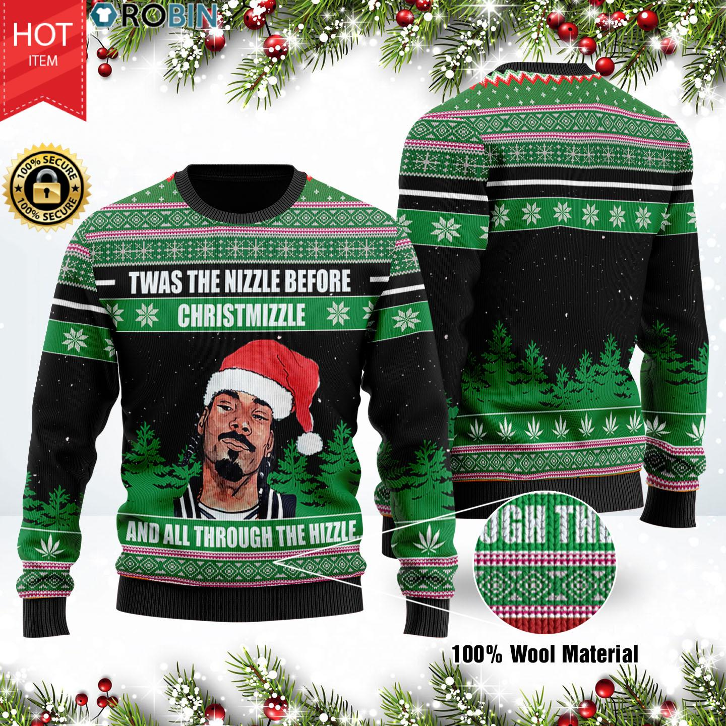 Snoop Dogg Twas The Nizzle Before Christmizzle And All Through The Hizzle Christmas Wool Ugly Sweater