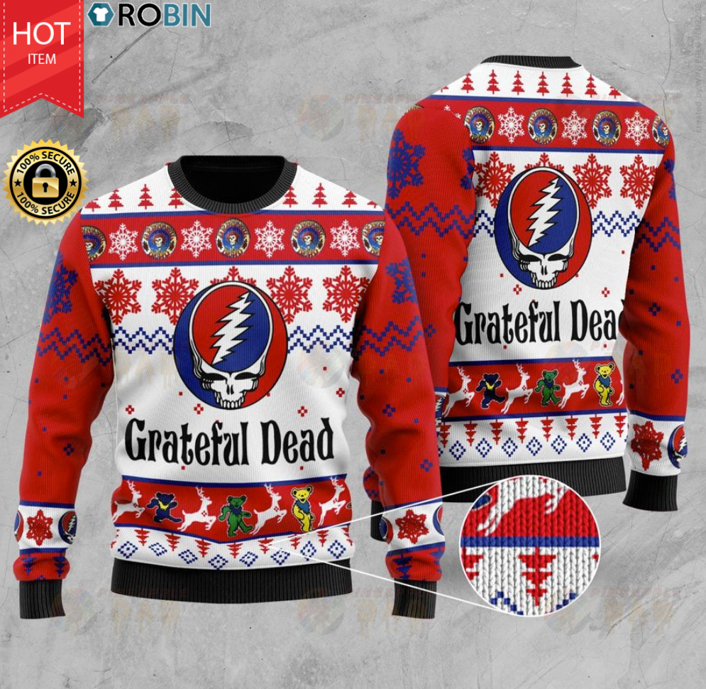 Grateful Dead Wood Ugly Christmas Sweater