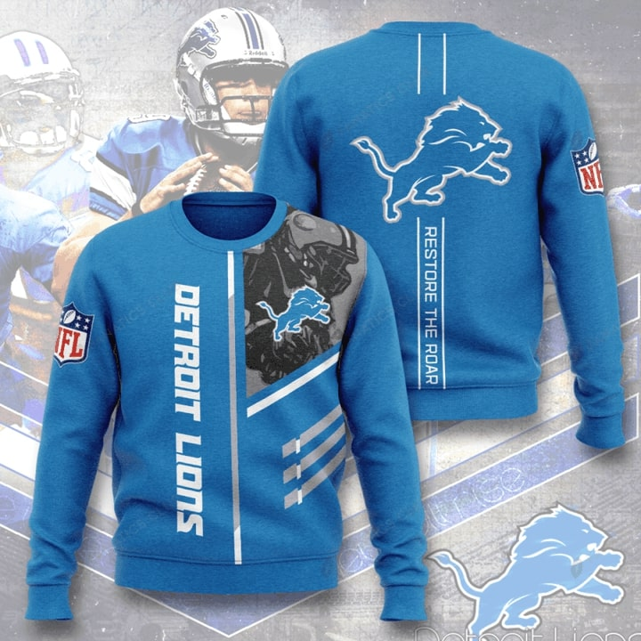 Detroit Lions Restore The Roar Full Printing Sweater
