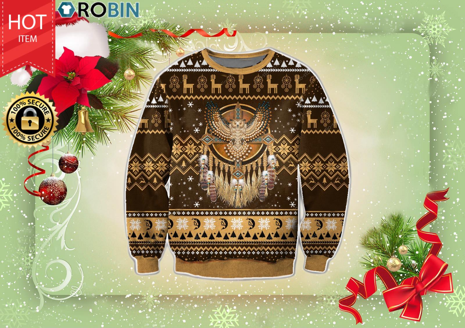 Native American Christmas Wool Ugly Sweater