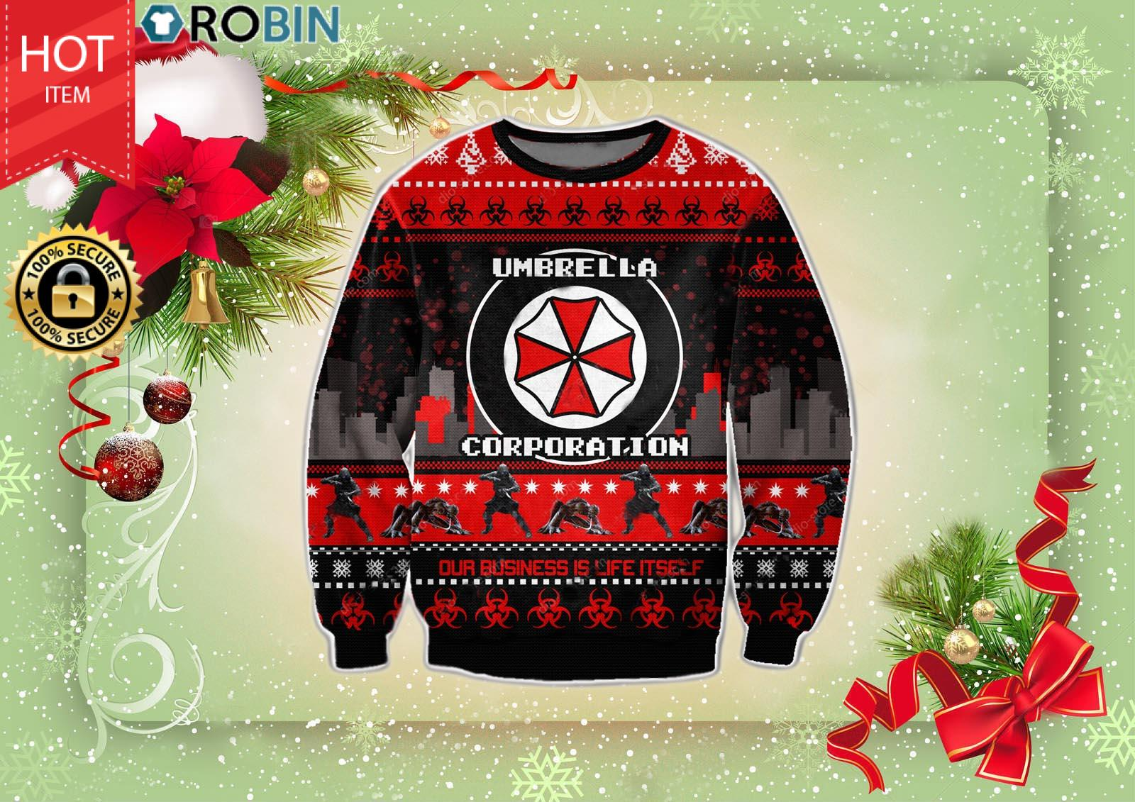 Resident Evil Umbrella Corporation Christmas Wool Ugly Sweater
