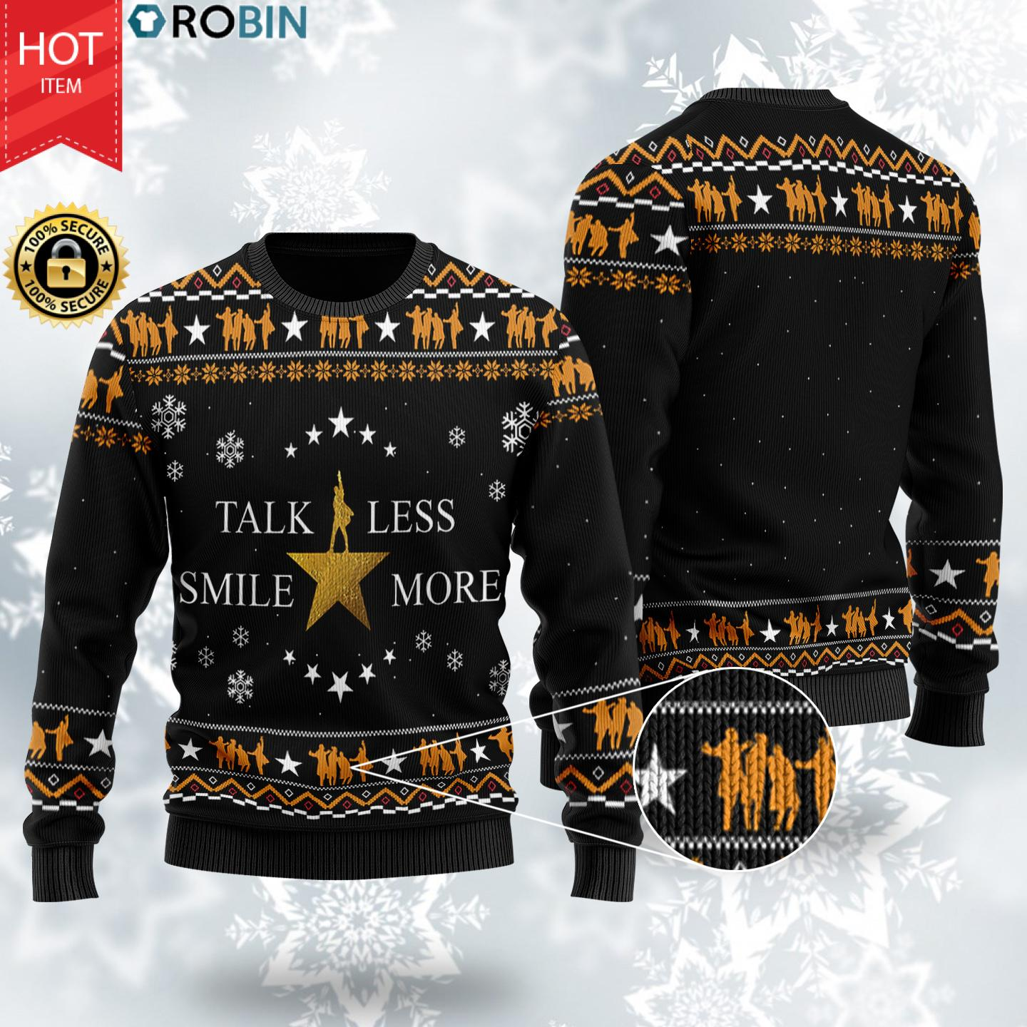 Talk Less Smile More Christmas Wool Ugly Sweater