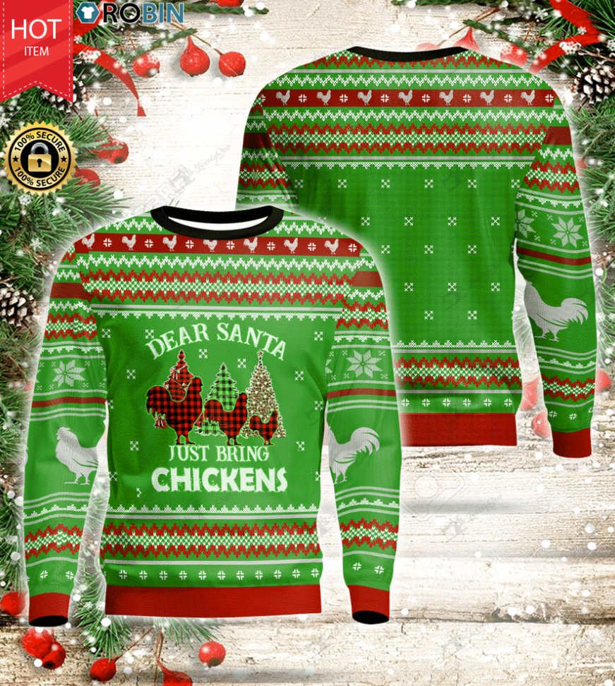 Dear Santa Just Bring Chickens Wood Ugly Christmas Sweater