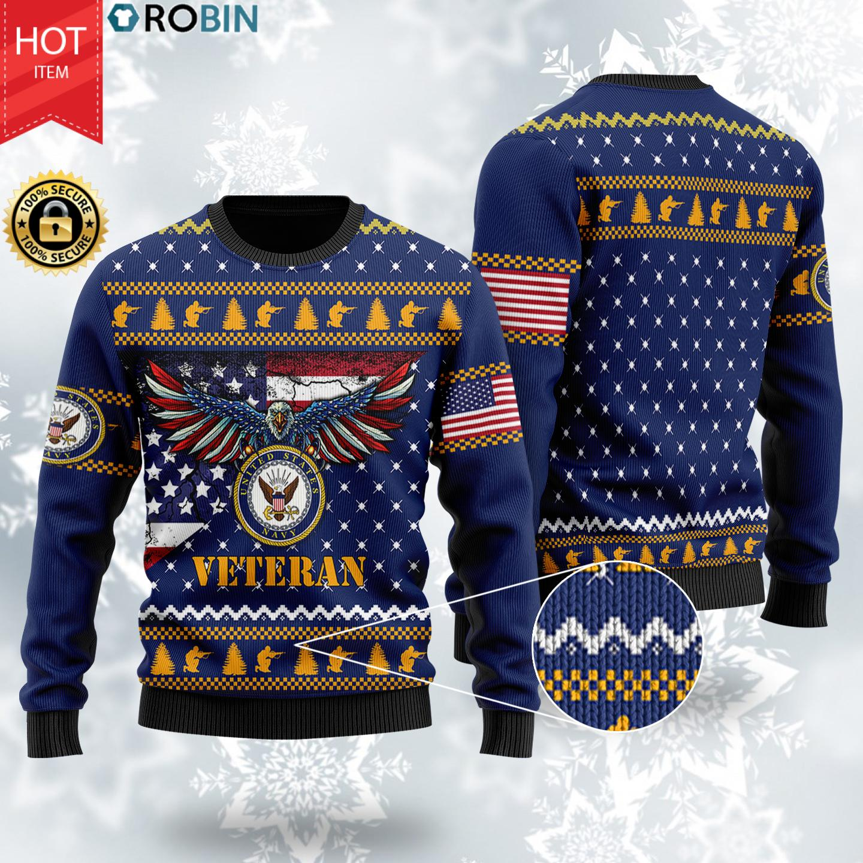 US Navy Veteran Bald Eagle Christmas Wool Sweater