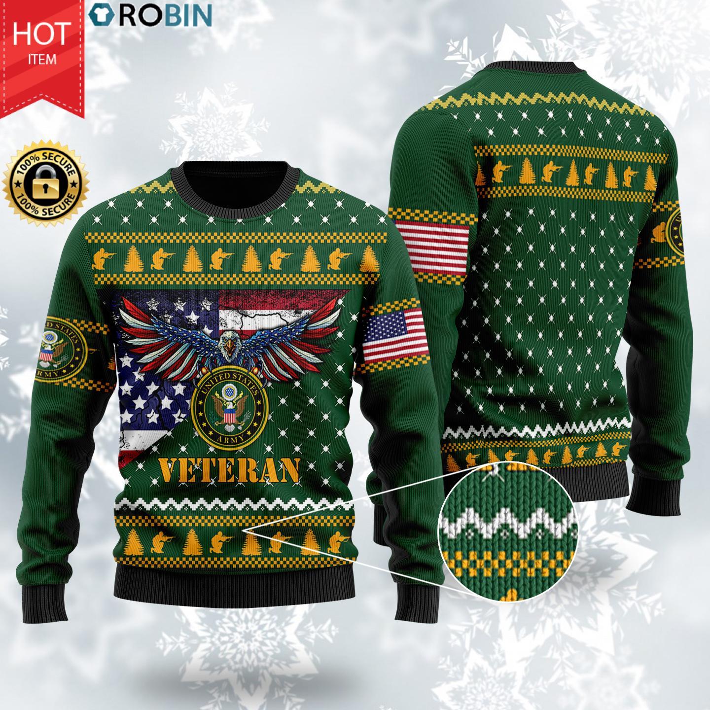 Bald Eagle US Army Veteran Christmas Wool Ugly Sweater