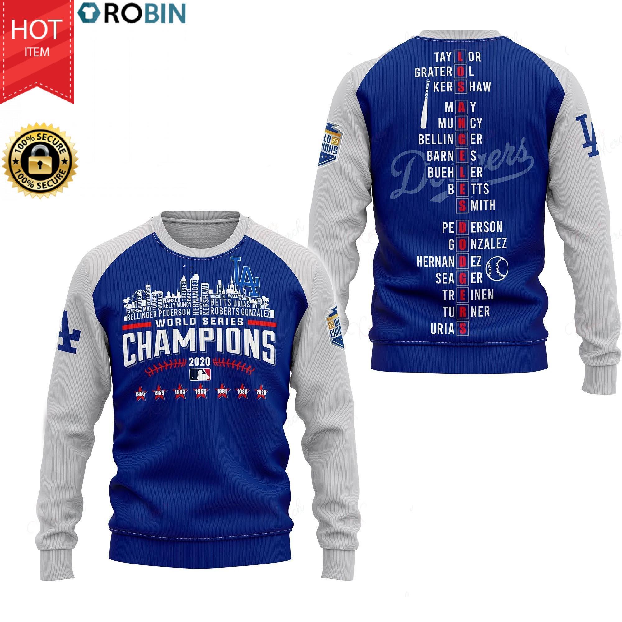 Los Angeles Dodgers 2020 World Series Champions Full Print Hoodie, T Shirt
