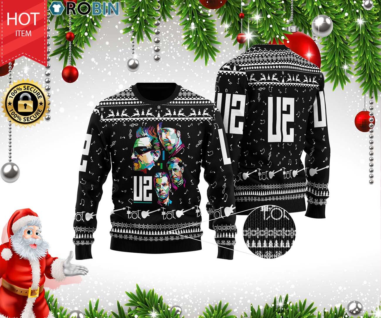 U2 Band 3D Printed Ugly Christmas Wool Sweater