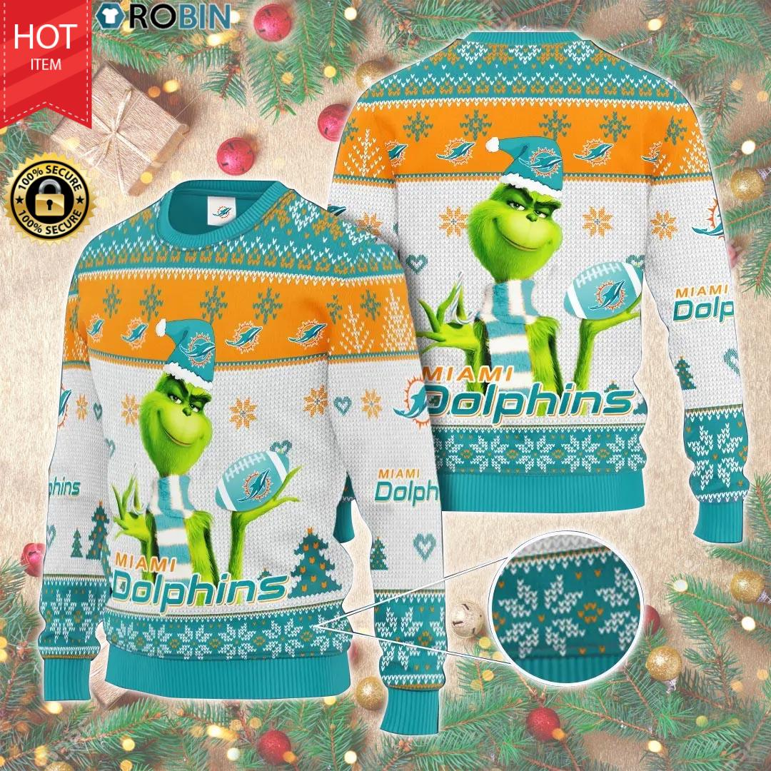 Christmas - The Grinch Hold Miami Dolphins  AOP Wool Sweater