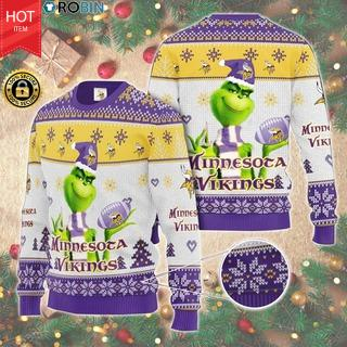 Christmas - The Grinch Hold Minnesota Vikings AOP Wool Sweater