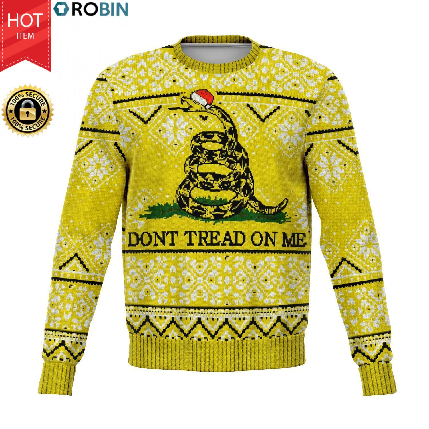 Don't Tread On Me Gadsden Flag Christmas 3D Allover Printed Wool Sweater
