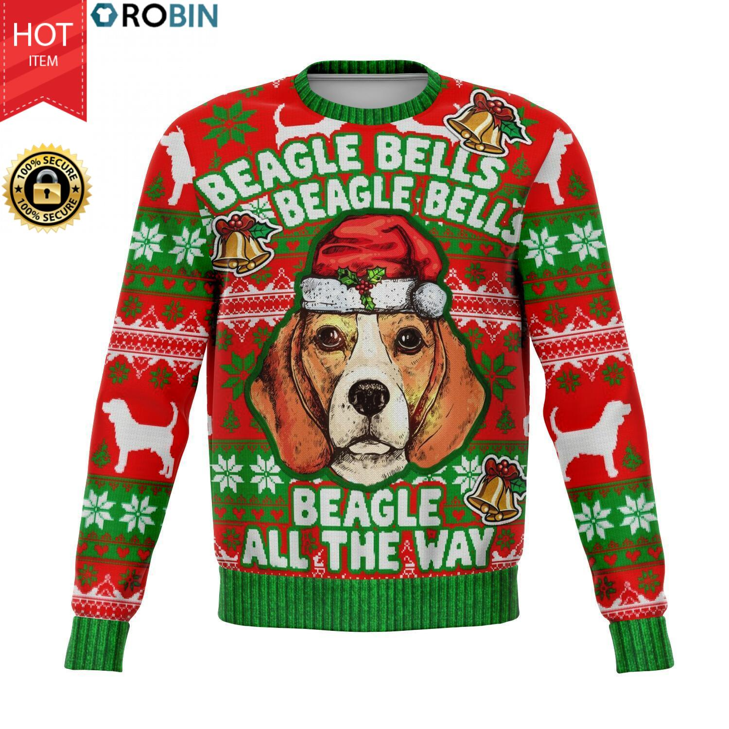 Beagle Bell All The Way Christmas 3D Allover Printed Wool Sweater