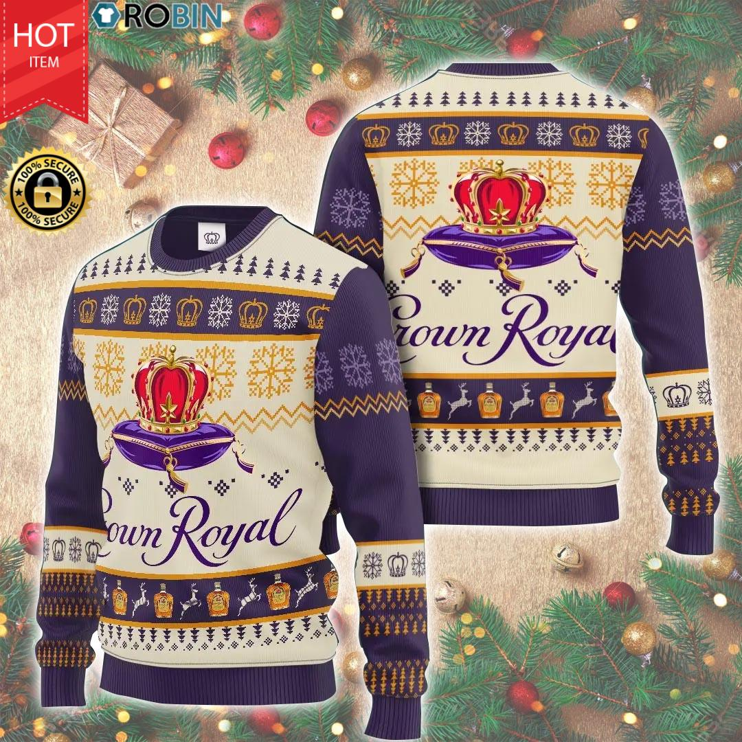 Crown Royal All Over Print Christmas Woollen Sweater