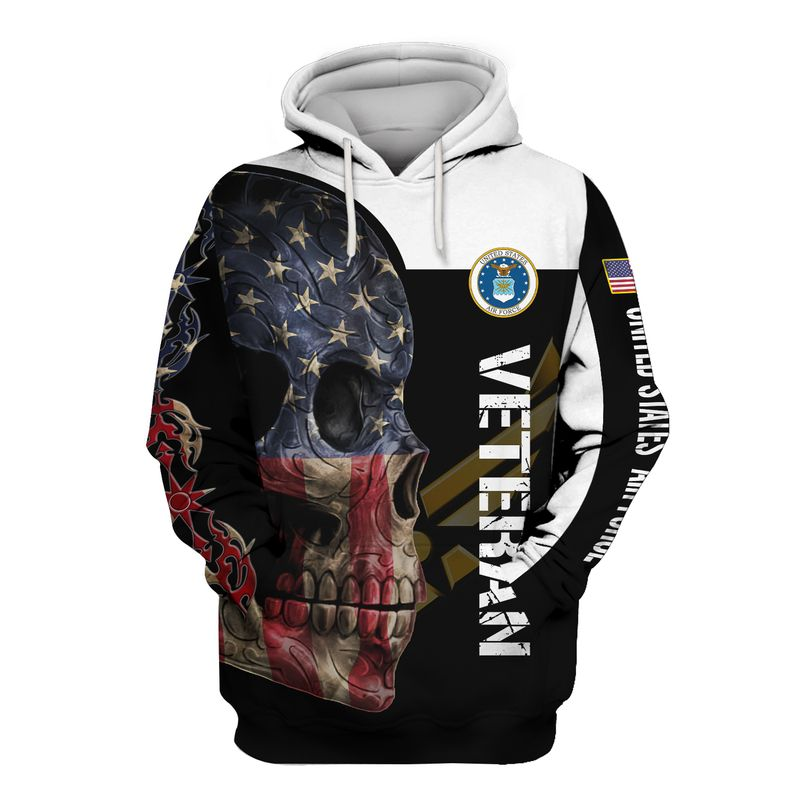 US Air Force Veteran Skull Full Printed Hoodie, T Shirt, Bomber